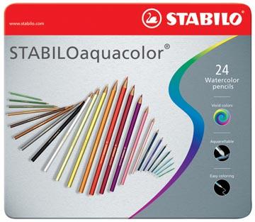 STABILOaquacolor kleurpotlood, metalen doos van 24 stuks in geassorteerde kleuren
