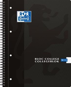 Oxford School collegeblok, ft A4, 180 bladzijden, 4 gaatjes, geruit 5 mm, zwart