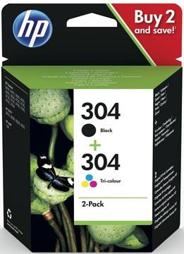 HP inktcartridge 304, 100-120 pagina's, OEM 3JB05AE, 1 x zwart en 1 x 3 kleuren