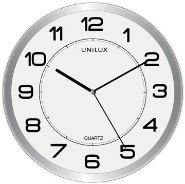 Unilux wandklok Magnet, diameter 30,5 cm, grijs en wit