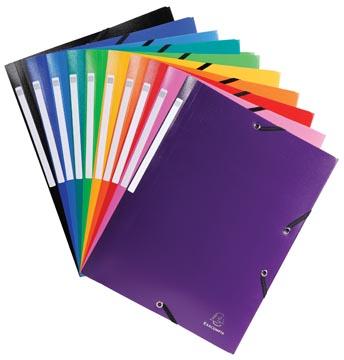 Exacompta elastomap 10 geassorteerde kleuren: zwart, donkerblauw, lichtblauw, turkoois, groen, geel, o...