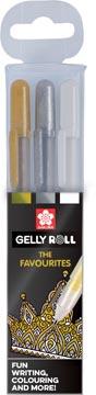 Sakura roller Gelly Roll Mix, etui met 3 stuks (goud, zilver en wit)