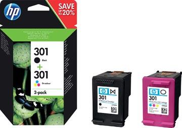 HP inktcartridge 301, 165-190 pagina's, OEM N9J72AE, 1x zwart en 1 x 3 kleuren